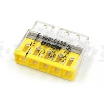 Borne Wago 2273 - 205 3 x0.5 à 2,5mm² Transparent / Rouge - lot de 100