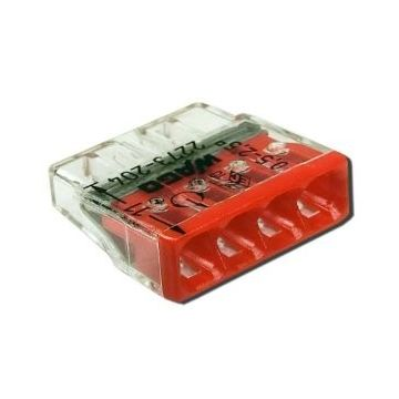 Borne Wago 2273 - 204 42 x0.5 à 2,5mm² Transparent / Rouge - lot de 100