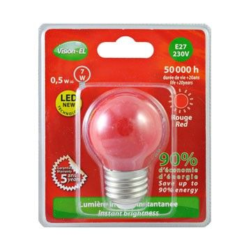 Ampoule LED Vision-EL Globe E27 0,5W rouge 7618B