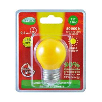 Ampoule LED Vision-EL Globe E27 0,5W jaune 7627B