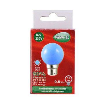 Ampoule LED Vision-EL Globe B22 0,8W bleu 7643C