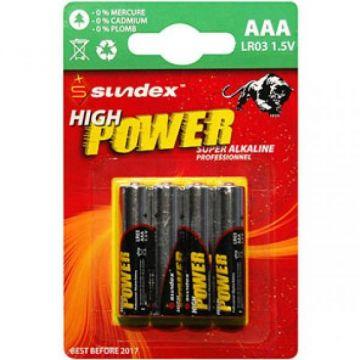 PILES LR03 AAA SUNDEX PACK X 4 SUPER ALCALINES 12-48