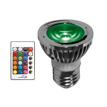 RGB/27P PACK SPOT RGB 5 WATT TYPE E27 / 230VAC + Télécommande / mode mémoire (emballage blister) - Lumihome